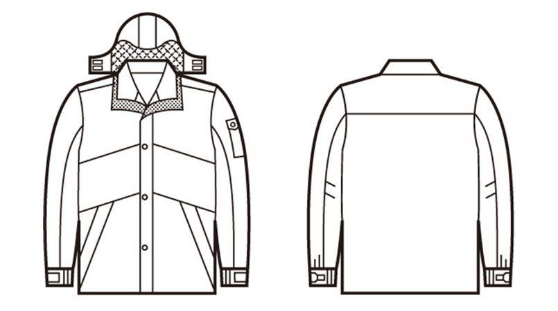 48233 自重堂 シンサレート防水防寒コート(フード付き・取り外し可能) ハンガーイラスト・線画