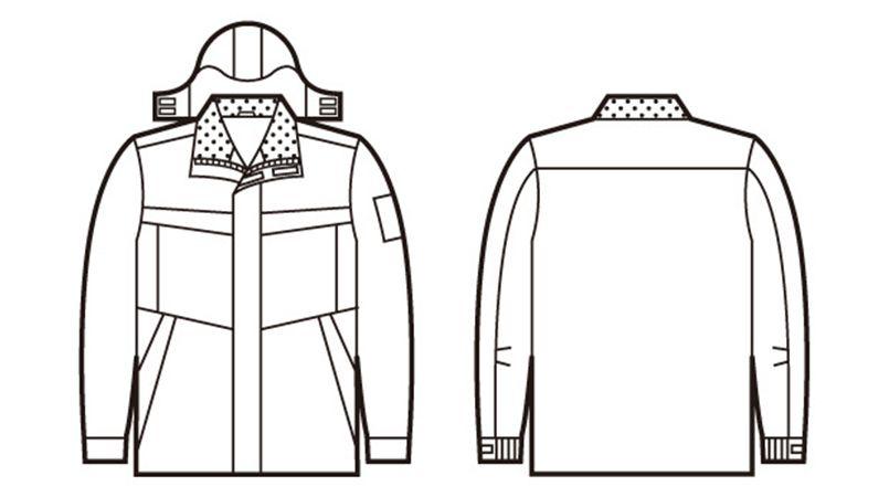自重堂 48443 超耐久撥水 裏アルミ防寒コート(フード付・取り外し可能) ハンガーイラスト・線画