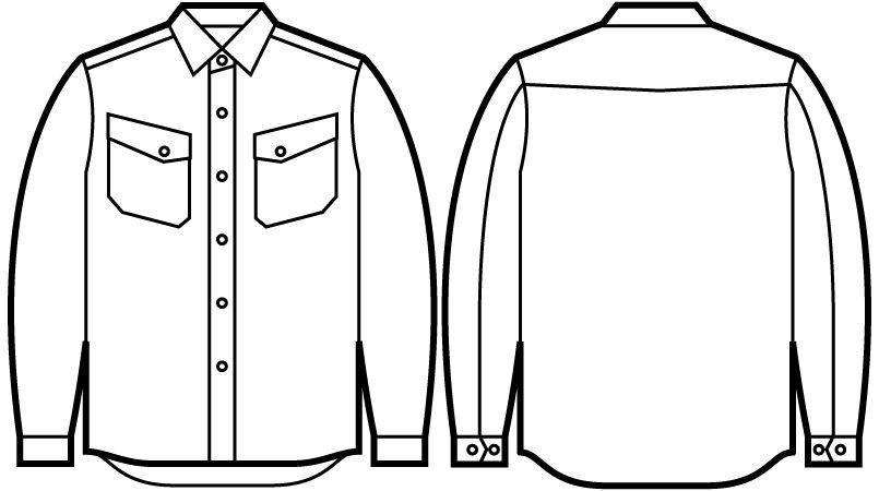 51104 自重堂JAWIN 長袖シャツ(年間定番生地使用) ハンガーイラスト・線画
