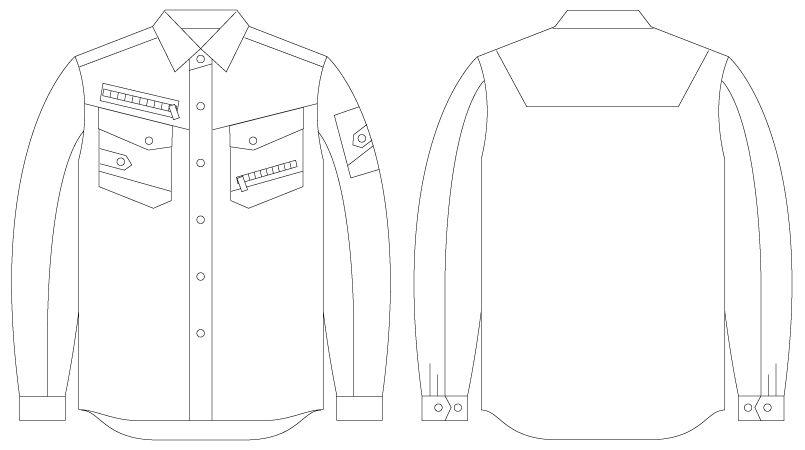 自重堂JAWIN 56004 [春夏用]長袖シャツ(新庄モデル) ハンガーイラスト・線画