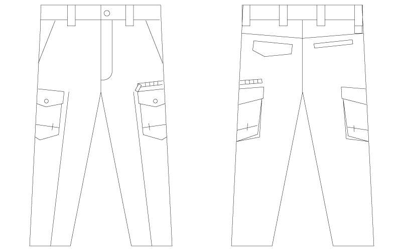 75202 自重堂Z-DRAGON [春夏用]ノータックカーゴパンツ(男性用) ハンガーイラスト・線画