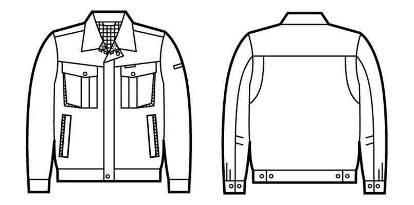 81400 自重堂 エコ 3バリュー 長袖ジャンパー(JIS T8118適合) ハンガーイラスト・線画