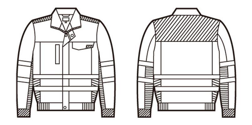 82700 自重堂 高視認性安全服 ブルゾン(年間定番生地使用) ハンガーイラスト・線画
