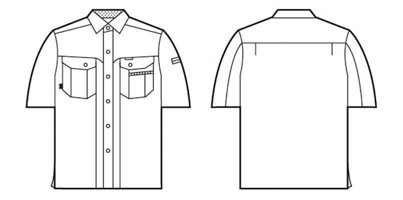 自重堂 84114 [春夏用]エコ 3バリュー 半袖シャツ(JIS T8118適合) ハンガーイラスト・線画