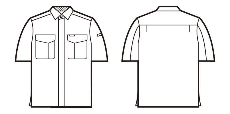自重堂 84314 [春夏用]エコ低発塵製品制電半袖シャツ(JIS T8118適合) ハンガーイラスト・線画