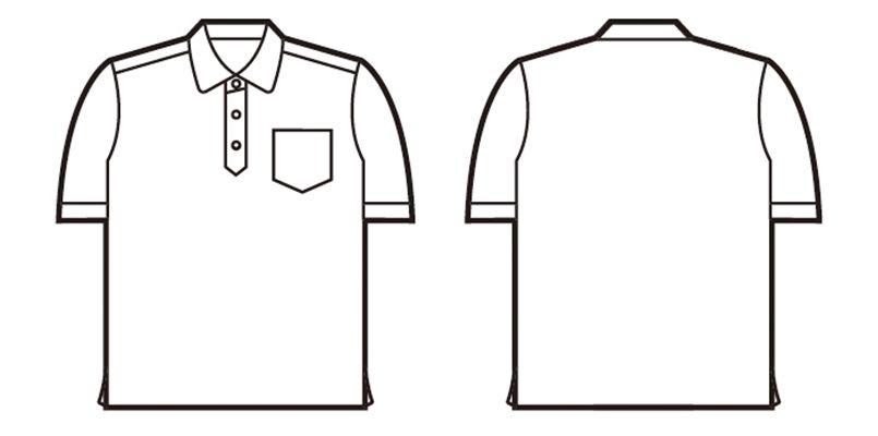 自重堂 85214 半袖ドライポロシャツ(男女兼用) ハンガーイラスト・線画