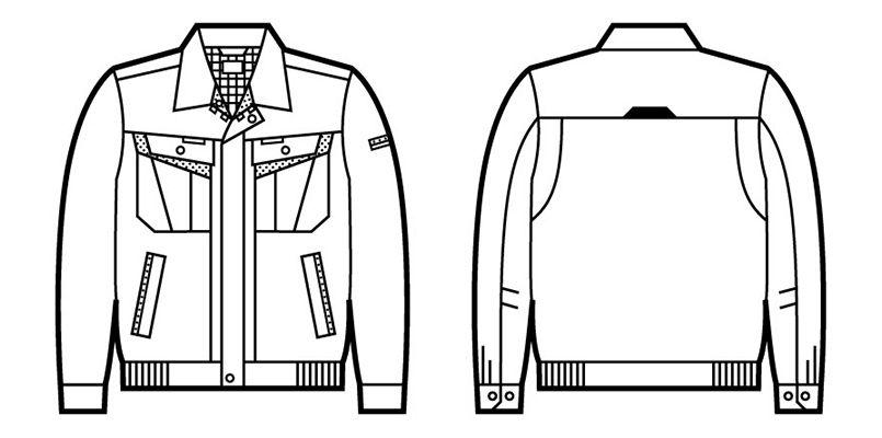 自重堂 86000 [春夏用]エコ製品制電長袖ブルゾン(JIS T8118適合) ハンガーイラスト・線画