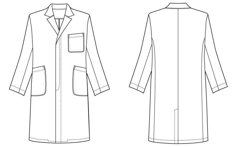 自重堂WHISEL WH10207 メンズシングルコート(男性用) ハンガーイラスト・線画