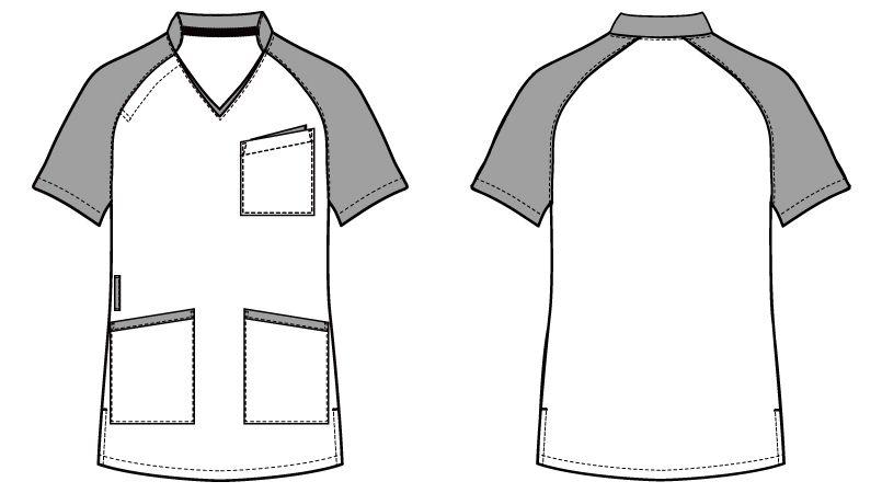 WH11785 自重堂WHISELスクラブ(男女兼用)衿と袖が配色 ハンガーイラスト・線画