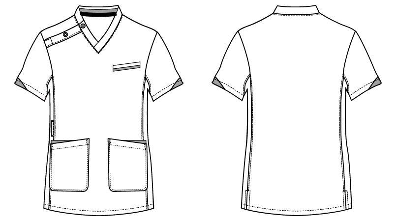 自重堂 WH11985 WHISEL スクラブ(男女兼用)袖口配色 ハンガーイラスト・線画
