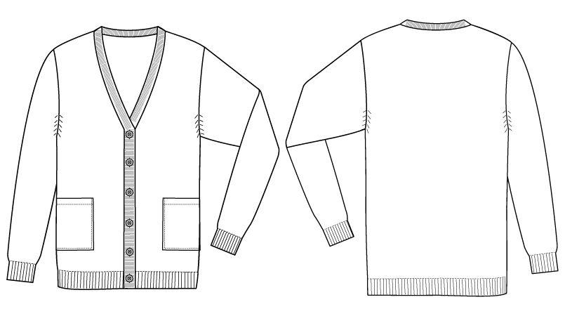 自重堂WHISEL WH90219 あったかレディースカーディガン(ロング丈)(女性用) ハンガーイラスト・線画