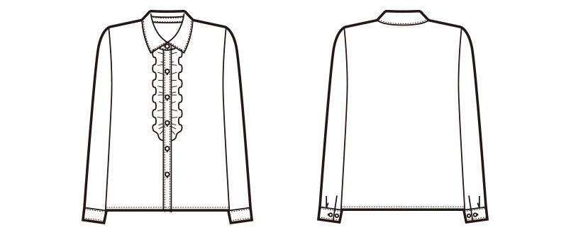 en joie(アンジョア) 01070 [通年]ほどよいフリルが優しい長袖ブラウス ハンガーイラスト・線画