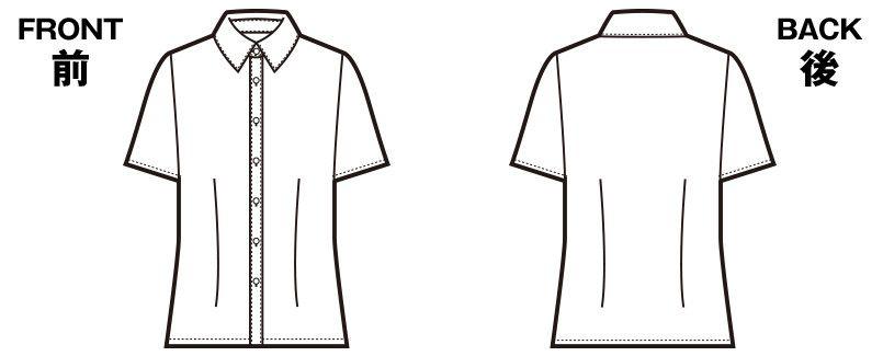 en joie(アンジョア) 06165 [通年]シワになりにくくストレッチで透け防止の半袖ニットシャツ ハンガーイラスト・線画