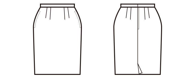 en joie(アンジョア) 51490 [通年]ラベンダーストライプのストレッチで動きやすいスカート ハンガーイラスト・線画
