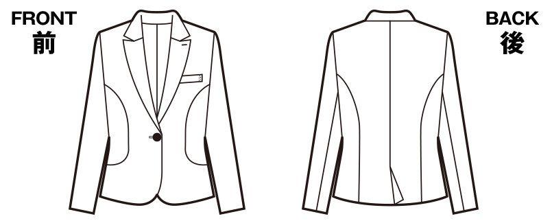 en joie(アンジョア) 86300 スマートでかわいらしいスーツスタイルのジャケット 無地 ハンガーイラスト・線画