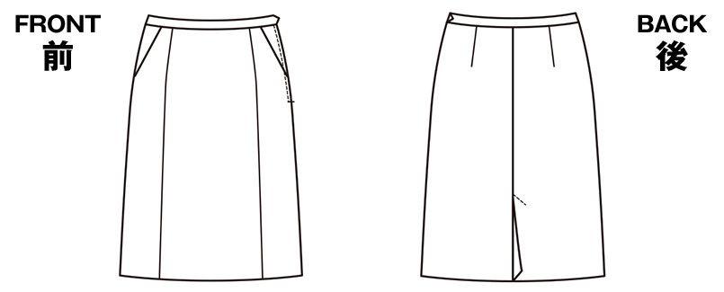 ESS458 enjoy セミタイトスカート 無地 ハンガーイラスト・線画