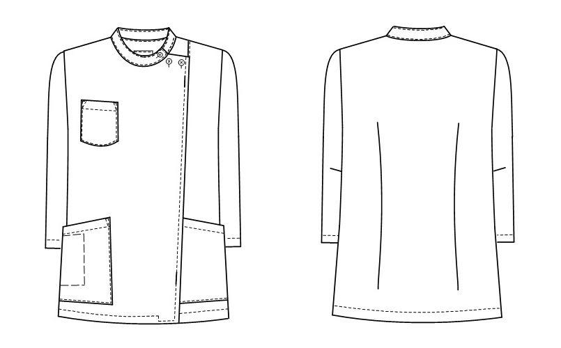 KES5171 ナガイレーベン(nagaileben) ケックスター 横掛8分袖(女性用) ハンガーイラスト・線画
