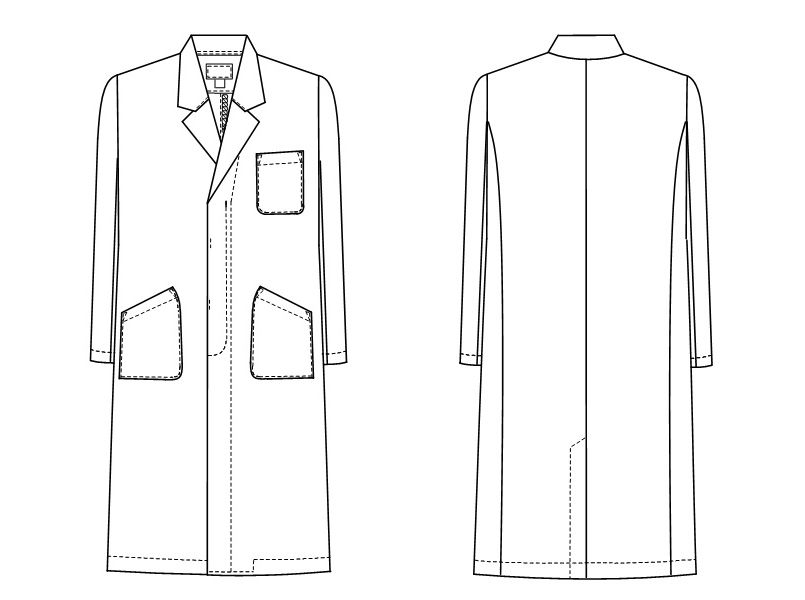 KEX5110 ナガイレーベン(nagaileben) ケックスター シングル診察衣長袖(男性用) ハンガーイラスト・線画